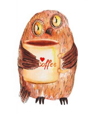 Naklejka Sowa z filiżanką kawy. Akwarele ręcznie rysunek