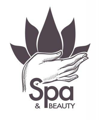 Naklejka Spa i urody, zabiegi kosmetyczne, aromaterapia w salonie wektor.