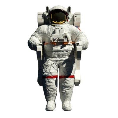 Naklejka spacewalking Astronaut - przedni widok 3D ilustracji na białym tle