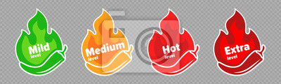 Naklejka Spicy chili pepper hot fire flame icons. Vector spicy food level icons, mild, medium and extra hot pepper sauce fire flame