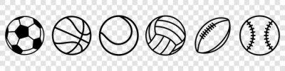 Naklejka Sport balls set. Ball icons. Balls for Football, Soccer, Basketball, Tennis, Baseball, Volleyball. Vector illustration