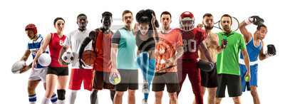 Naklejka Sport collage about female athletes or players. The tennis, running, badminton, volleyball.