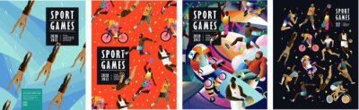 Naklejka Sport games! Vector illustrations of athletes, swimmers, hockey player, jumper, runner, volleyball, basketball player, soccer player, cyclist, tennis player for poster, banner or cover design.
