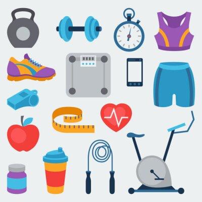 Naklejka Sport i Fitness zestaw ikon w stylu płaskiej.