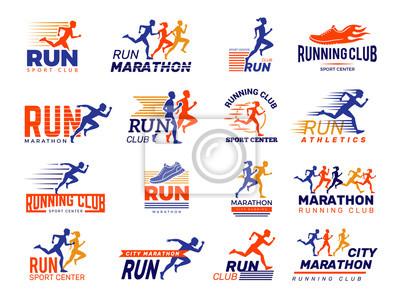 Naklejka Sport logo. Healthy running marathon athletes sprinting badges vector collection isolated. Illustration runner fitness club, marathoner sportsman