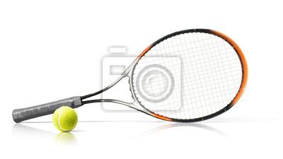 Naklejka Sport. Rakieta tenisowa i piłka. Pojedynczo na białym tle