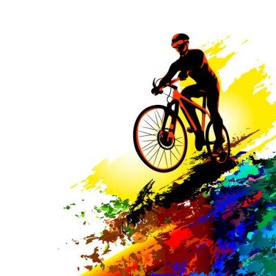 Naklejka Sport rowerzystów. Ilustracji wektorowych