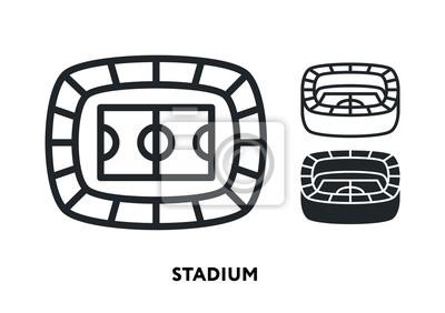 Sport Stadium Arena Building. Vector Flat Line Icon Illustration.