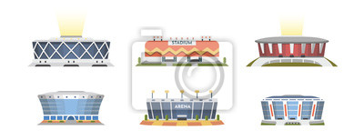 Naklejka Sport stadium front view vector collection in cartoon style. City arena exterior illustration.