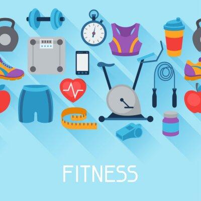 Naklejka Sport szwu z ikon fitness w stylu płaskiej.