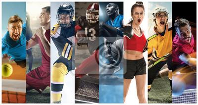 Naklejka Sportowe kolaż o piłce nożnej, futbolu amerykańskim, koszykówce, tenisie, boksie, hokeju na lodzie i polowe, tenis stołowy