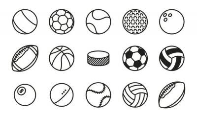 Sportowe Piłki Minimalny Linia Linii Wektorowych Ikonę Zestawu. Piłka nożna, piłka nożna, tenis, golf, kręgielnia, koszykówka, hokej, siatkówka, rugby, basen, baseball, ping pong