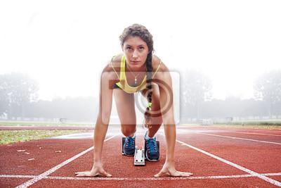 Naklejka sportowiec na blokach startowych