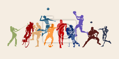 Naklejka Sports, set of athletes of various sports disciplines. Isolated vector silhouettes. Run, soccer, hockey, volleyball, basketball, rugby, baseball, american football, cycling, golf
