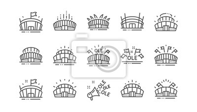 Naklejka Sports stadium line icons. Ole chant, arena football, championship architecture. Arena stadium, sports competition, event flag icons. Sport complex linear set. Vector