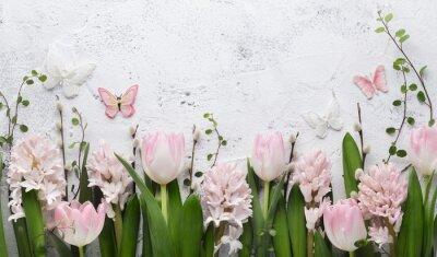 Naklejka Spring flower and butterfly