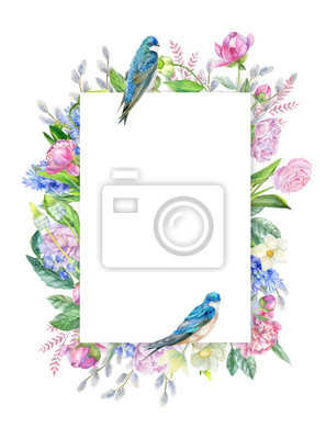 Spring frame ith swallows