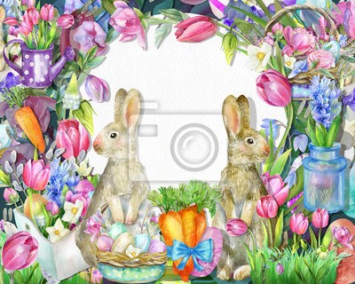 Spring frame with rabbits