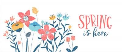 Naklejka Spring season card of hand drawn cute flowers