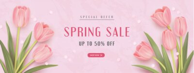 Spring special offer vector banner background with spring season sale text and tulip flowes. Can be used for web banners, wallpaper, flyers. Vector illustration