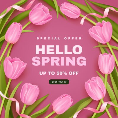 Spring special offer vector square background with spring season sale text and realistic pink tulip flowes. Can be used for web banners, wallpaper, flyers, greeting cards