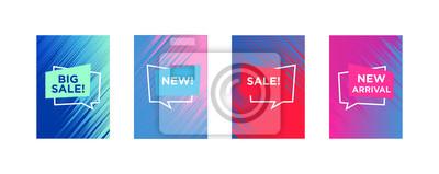 Naklejka Sprzedam szablon banerów internetowych do oferty specjalnej reklamy. Płynne kolory w różnych formach. Nowości w sklepie internetowym promo. Nowo przybyłe banery internetowe.
