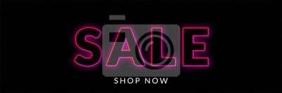 Naklejka sprzedaż transparent z neonem na czarnym tle piątek