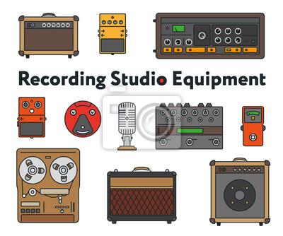 Sprzęt do nagrywania dźwięku Studio. Minimalna linia płaskiej linii konspektu Zestaw ikon skoku. Pedał, Wzmacniacz, Procesor Efektów Gitarowych, Mikser, Dyktafon Vintage, Mikrofon, Głośnik, Syntezator
