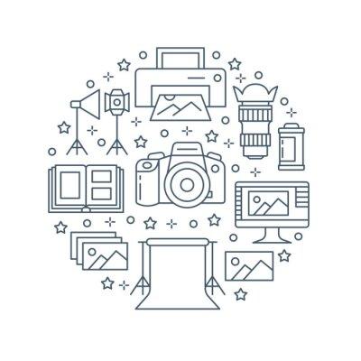 Sprzęt fotograficzny plakat z ikonami płaskiej linii. Aparat cyfrowy, zdjęcia, oświetlenie, kamery wideo, akcesoria fotograficzne, karta pamięci, statyw. Wektorowa okrąg ilustracja, pojęcie dla photos