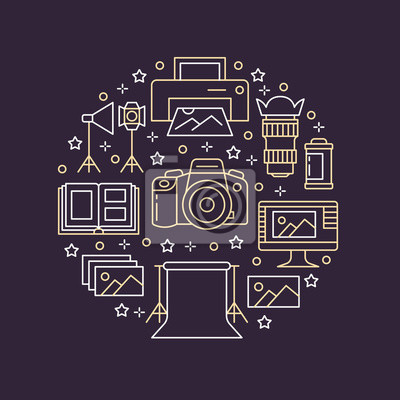 Sprzęt fotograficzny plakat z ikonami płaskiej linii. Wektorowa okrąg ilustracja, pojęcie dla photostudio broszurki.