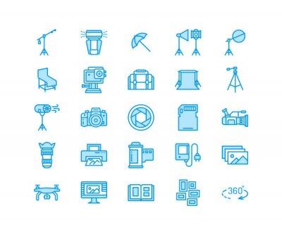 Sprzęt fotograficzny płaskie ikony linii. Aparat cyfrowy, zdjęcia, oświetlenie, akcesoria do zdjęć, karta pamięci, film ze statywu. Piksel idealny 64x64.