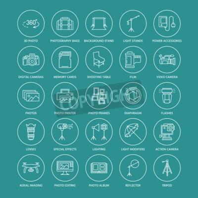Sprzęt fotograficzny płaskie ikony linii. Aparat cyfrowy, zdjęcia, oświetlenie, kamery wideo, akcesoria fotograficzne, karta pamięci, film z obiektywem statywu. Wektorowa ilustracja, znaki dla fotogra