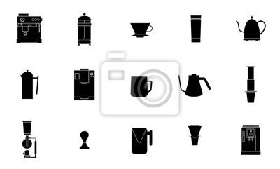 Sprzęt kawowy wektor płaska linia zbiór ikon