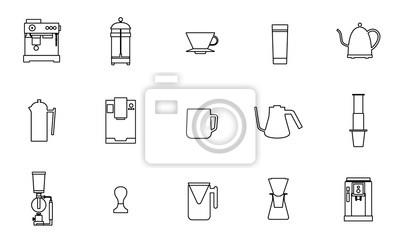 Sprzęt kawowy wektor płaski ikona kolekcji linii