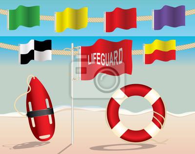 Sprzęt Lifeguard i Flagi ostrzegawcze na plaży