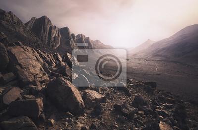 Naklejka Spustoszony krajobraz pustyni w Maroku