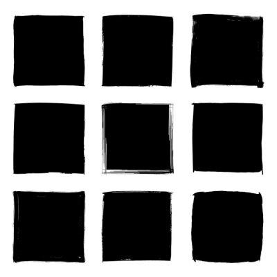 Naklejka Square black paint strokes blank frames
