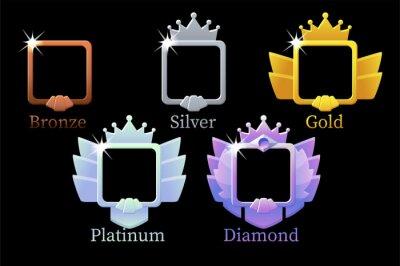 Naklejka Square frames game rank, gold, silver, platinum, bronze, diamond avatar template 6 steps animation for game.