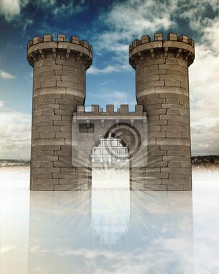 Średniowieczna brama z siatki i otwartej strażniczych wież