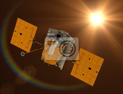 """Stacja kosmiczna """"Messenger"""" latanie w kierunku Słońca."""