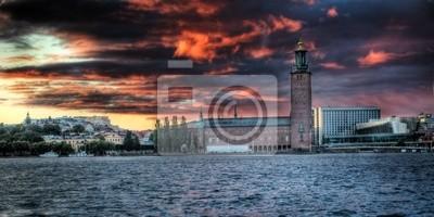 Stadhuset Stockholm nach Sonnenuntergang