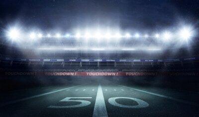 Naklejka Stadion piłkarski w 3D renderowanie światła nocą