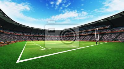 stadion rugby z fanami i boisko trawa na światło dzienne