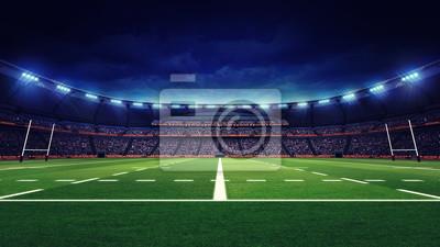 Stadion rugby z fanami i trawa zielona zabaw