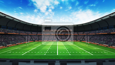 stadion rugby z fanami i zielona trawa na światło dzienne