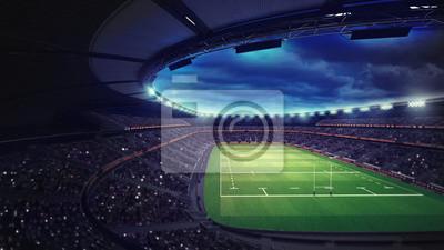 Stadion rugby z fanami pod dachem z reflektorami