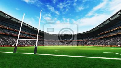 stadion rugby z zielonej trawie na światło dzienne