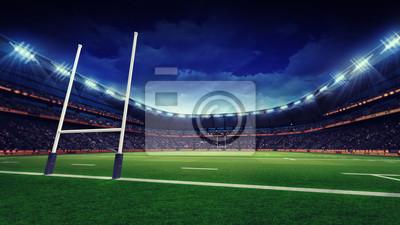 stadion rugby z zielonej trawy zabaw i cel