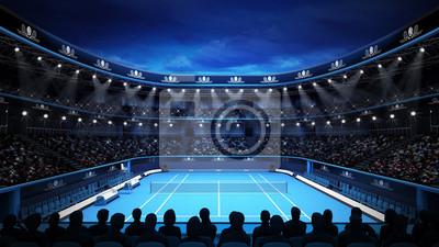 Stadion tenisowy z nocnego nieba i widzów