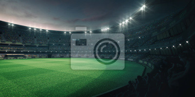 Stadium lights and empty green grass field with fans around, perspective tribune view, grassy field sport building 3D professional background illustration
